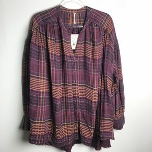 Free People Oversized Plaid Shirt Tunic
